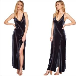 Free People Spliced Velvet Maxi Slip Dress Size L